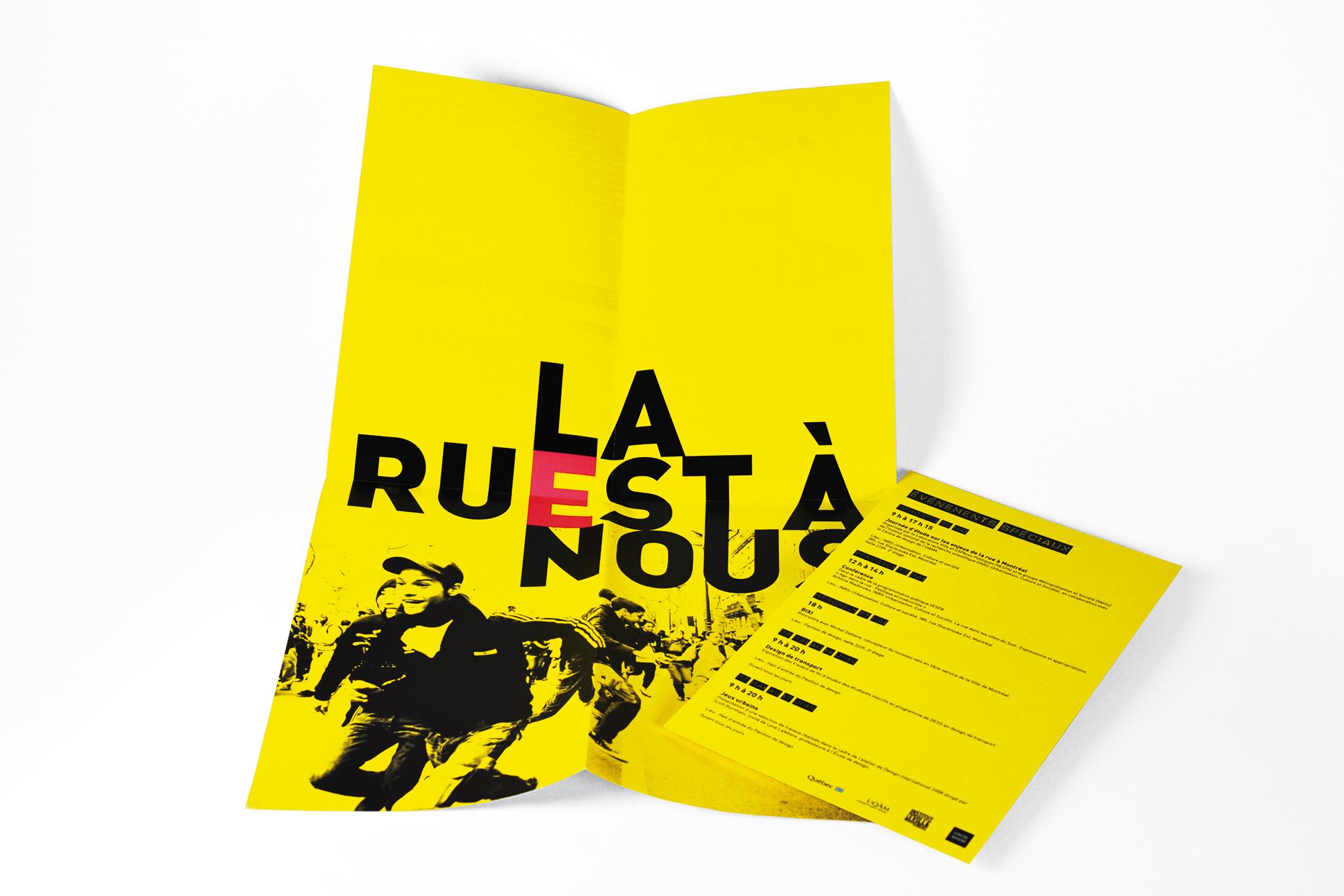 affiche informative et carton «La rue est à nous»