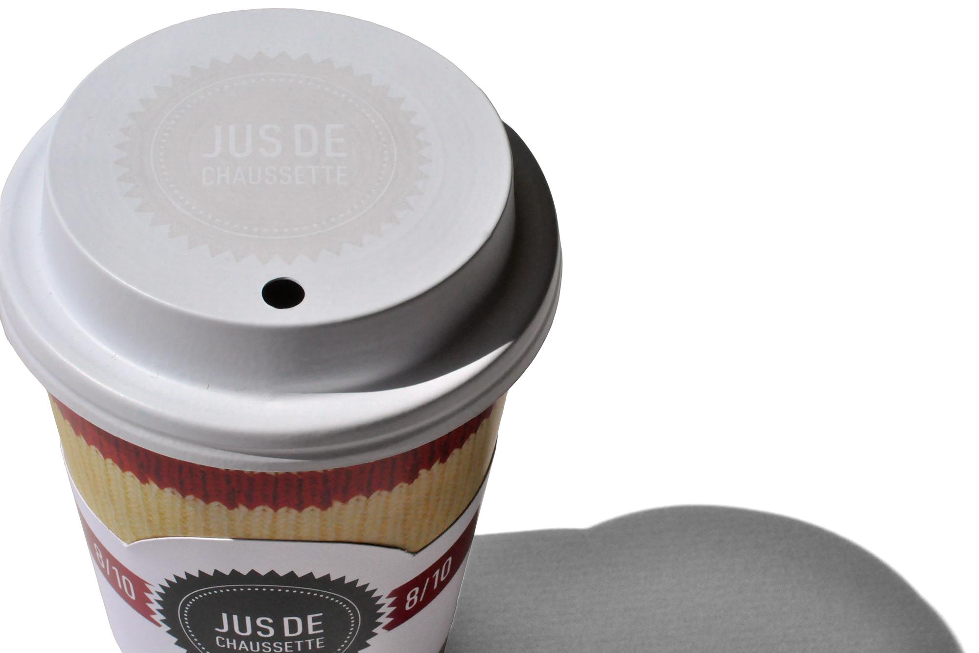 sérigraphie logo «Jus de chaussette» sur couvercle à café pour emporter