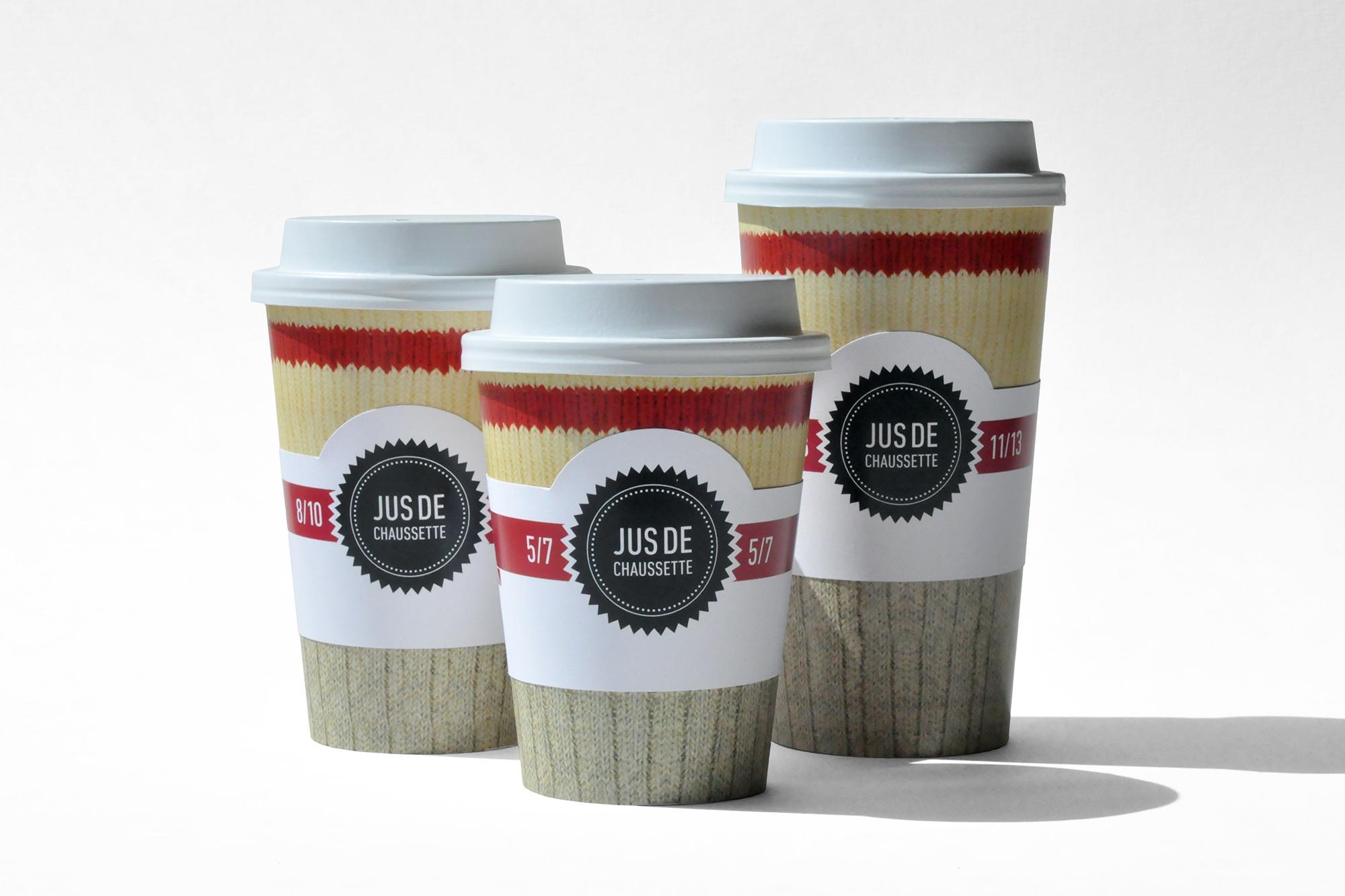 trois formats de verres à café «Jus de chaussette» pour emporter
