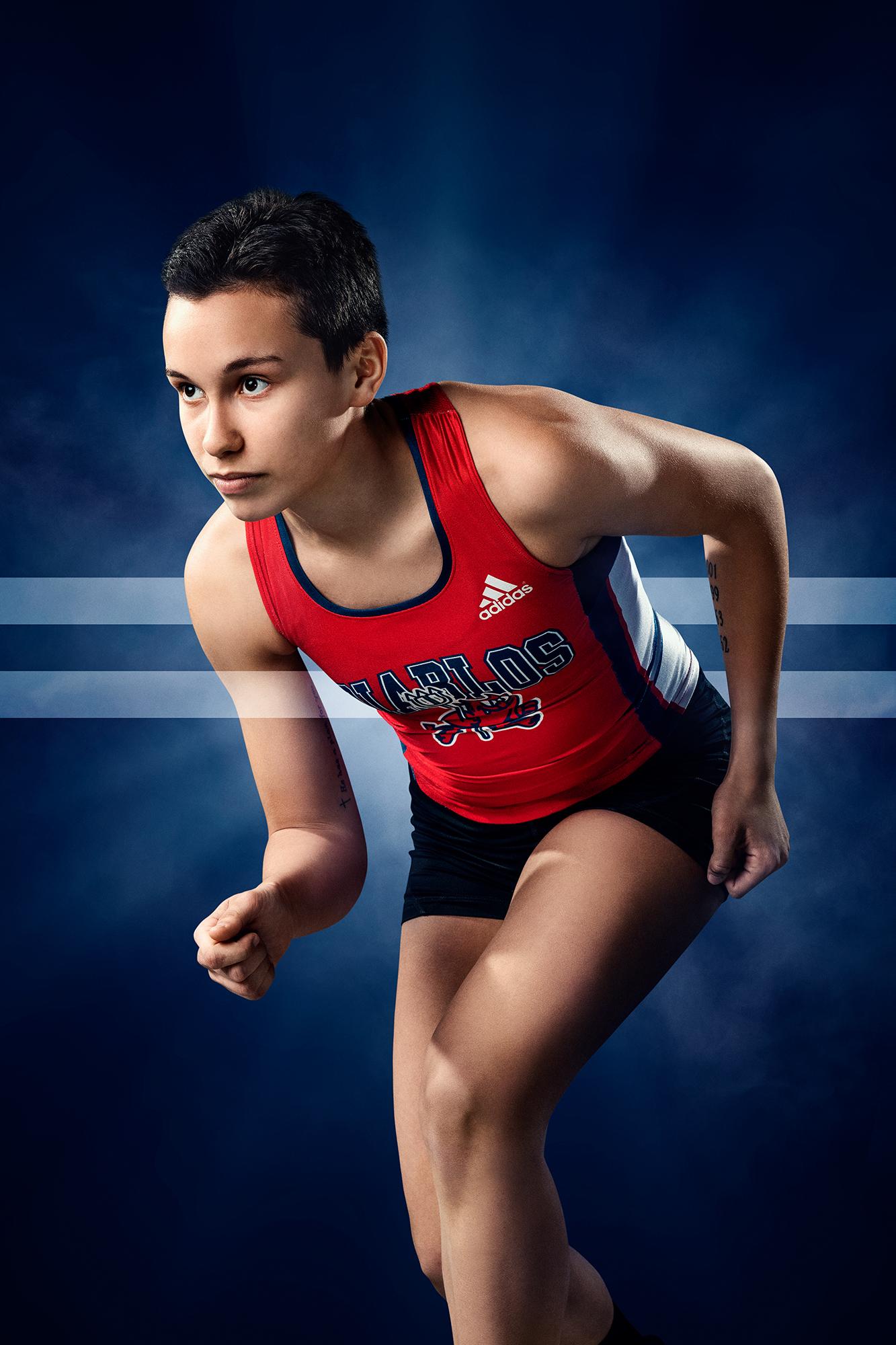 athlète cross-country en action